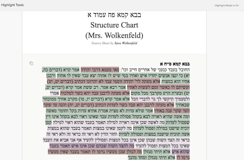 Sara's sheet highlighted